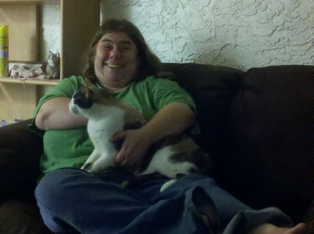 "Cassie and her cat ""Baby"" - April 2011"