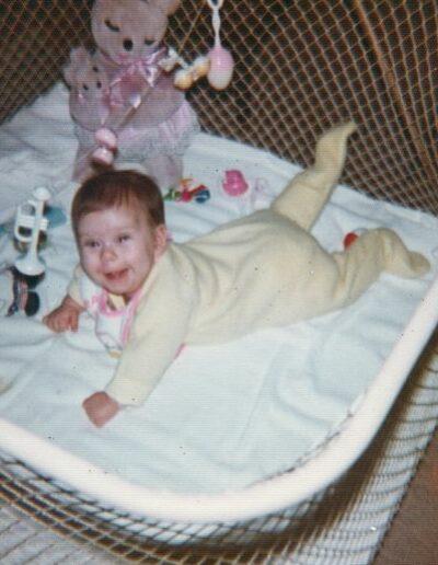 Cassie in her playpen