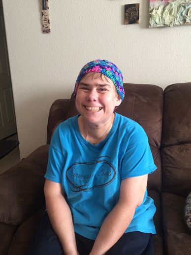 Cassie in her cap that a nurse gave her at Scottsdale Medical Center November 2015