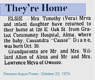 Birth Announcement from Owosso Argus Press