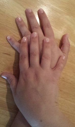 Cassie's hands - just had a manicure - March 30, 2015